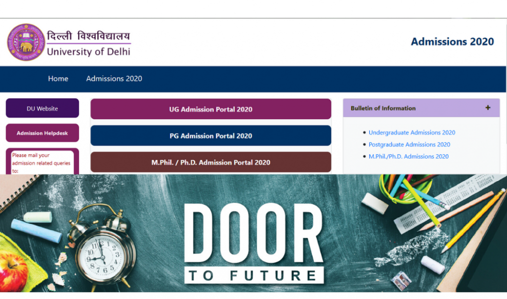 Delhi University DU PG Application Form 2020